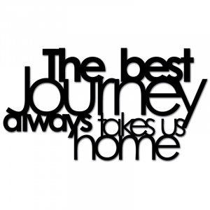 Napis na ścianę THE BEST JOURNEY ALWAYS TAKES US HOME czarny TBJ1-1