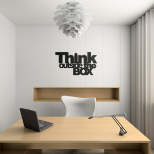Napis na ścianę THINK OUTSIDE THE BOX czarny TOB1-1