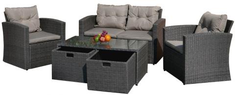 Komplet Meble Ogrodowe Z Szufladami Technorattan Sofa Stolik Z Szufladami 2 Fotele Fs 3049